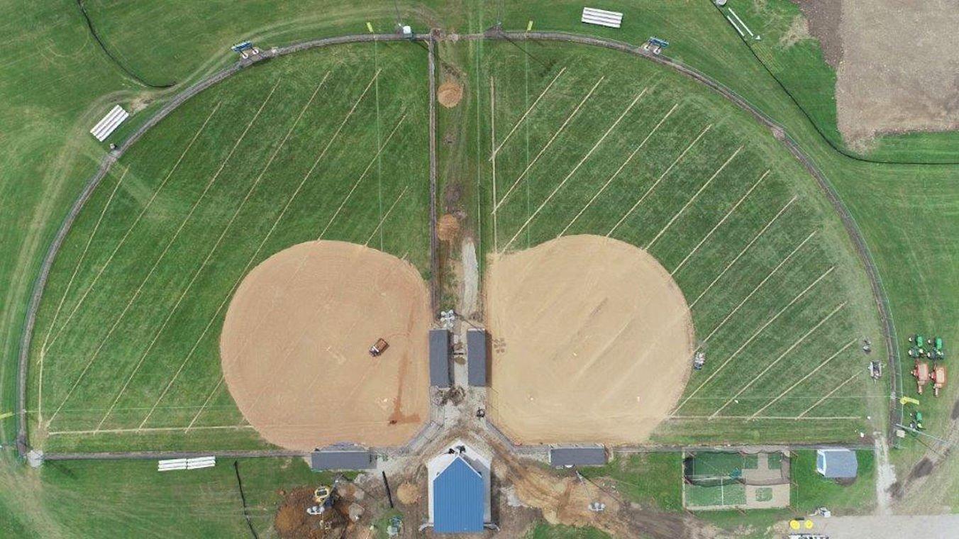 slit drainage installation on ballfield