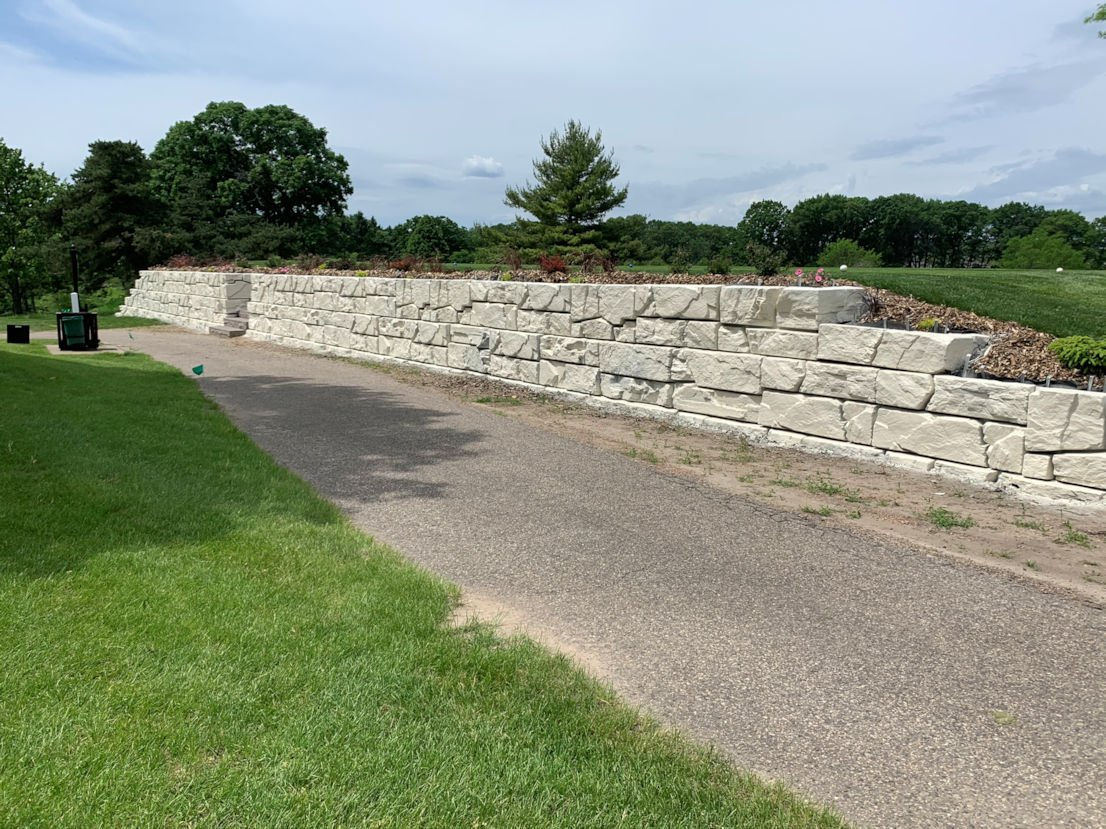 This block retaining wall is both practical and attractive