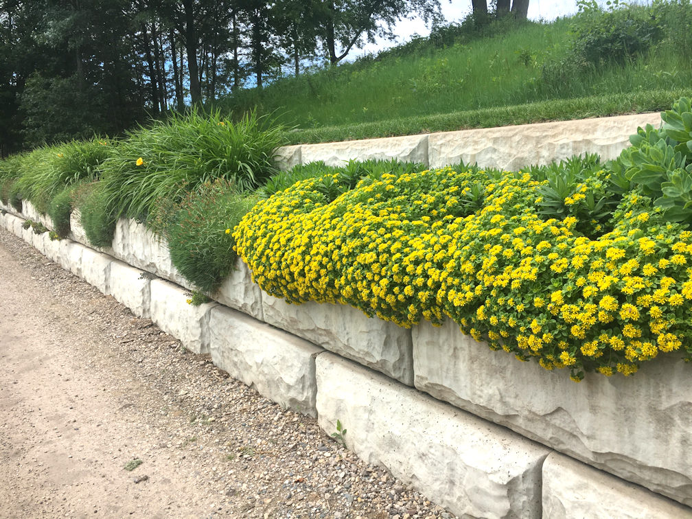 Block Wall and Flowers at Bracketts Crossing Country Club