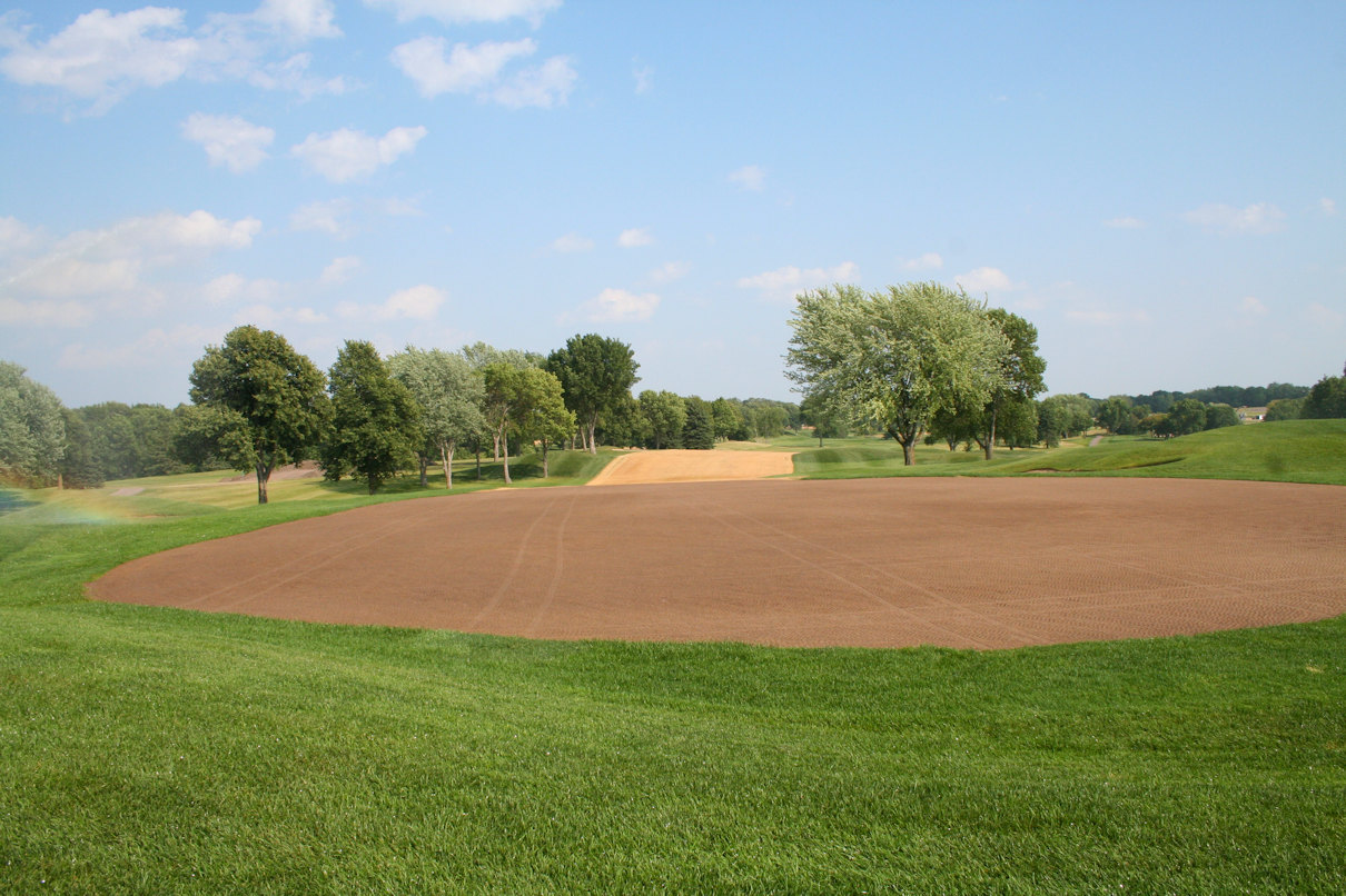 Seeded green on 18th hole at Hazeltine National Golf Course