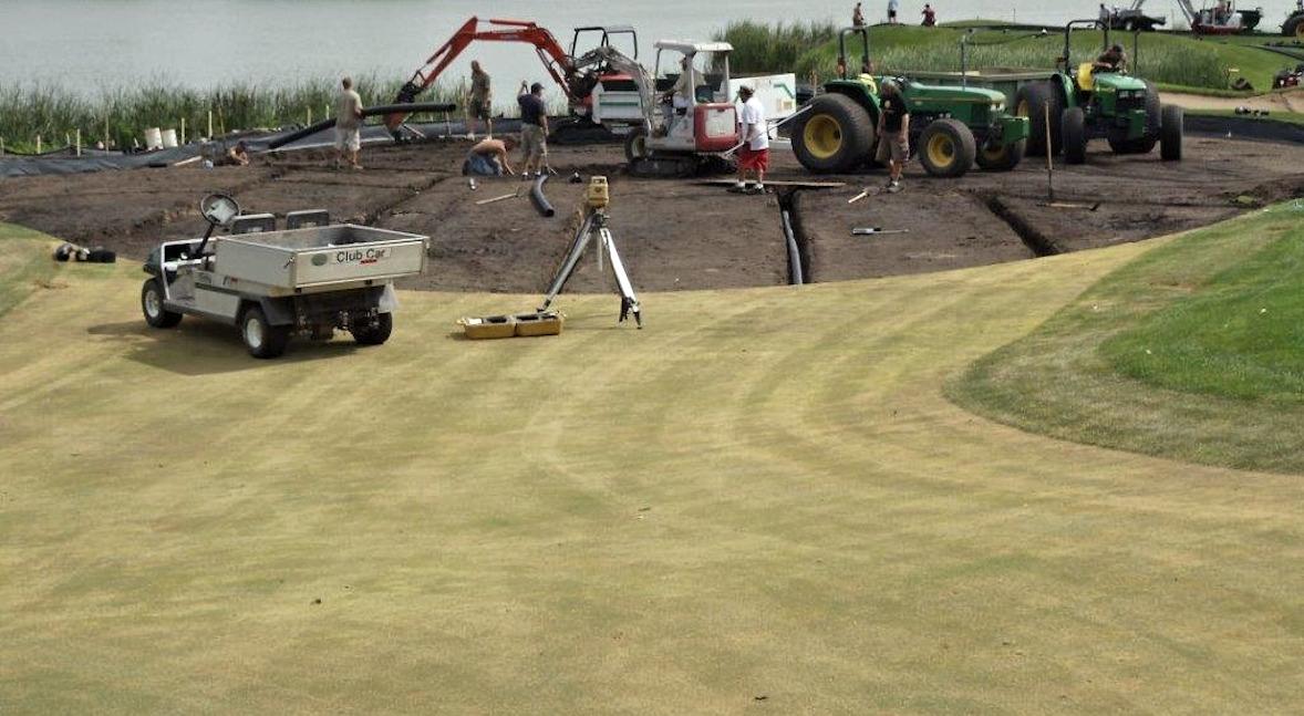 Installing tile drainage at Hazeltine National Golf Club