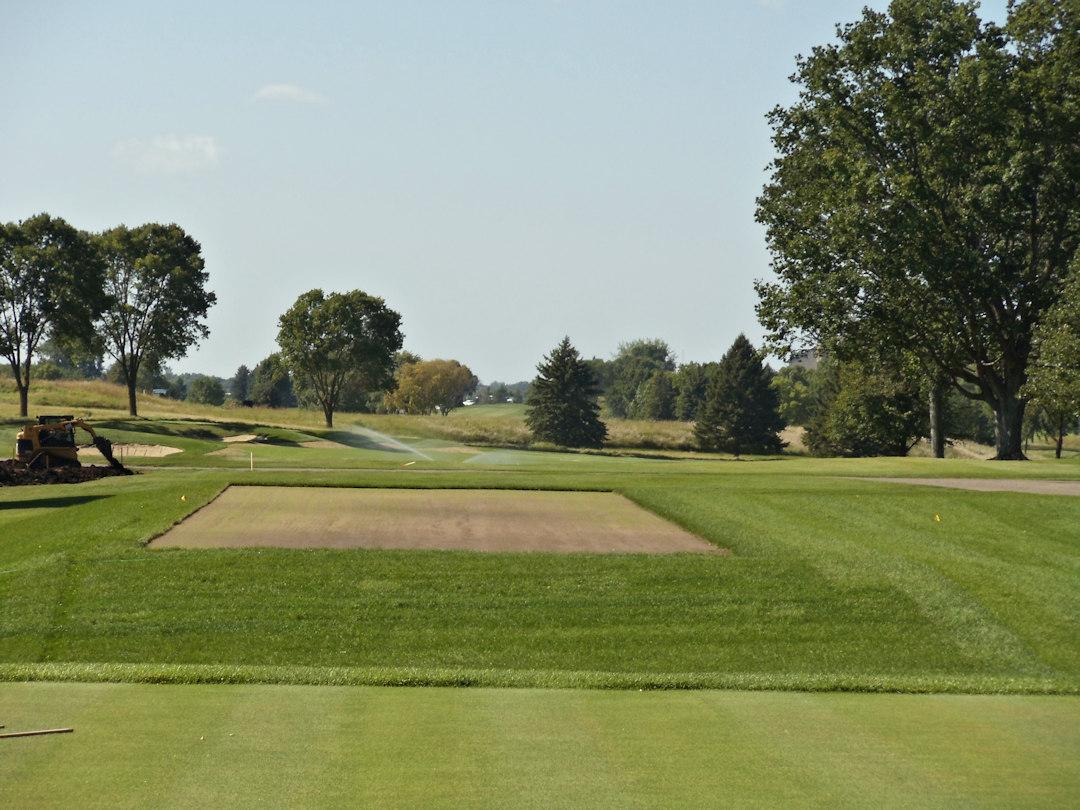 Hazeltine National Golf Club leveling the tee on hole #9