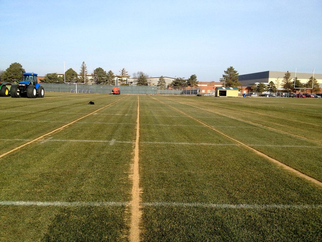 Mankato State football field slit drainage complete