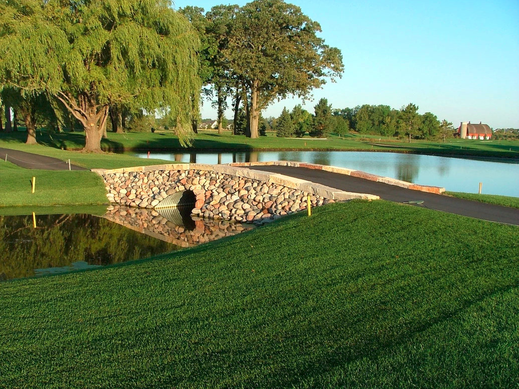 Finished stone bridge at Medina Golf and Country Club