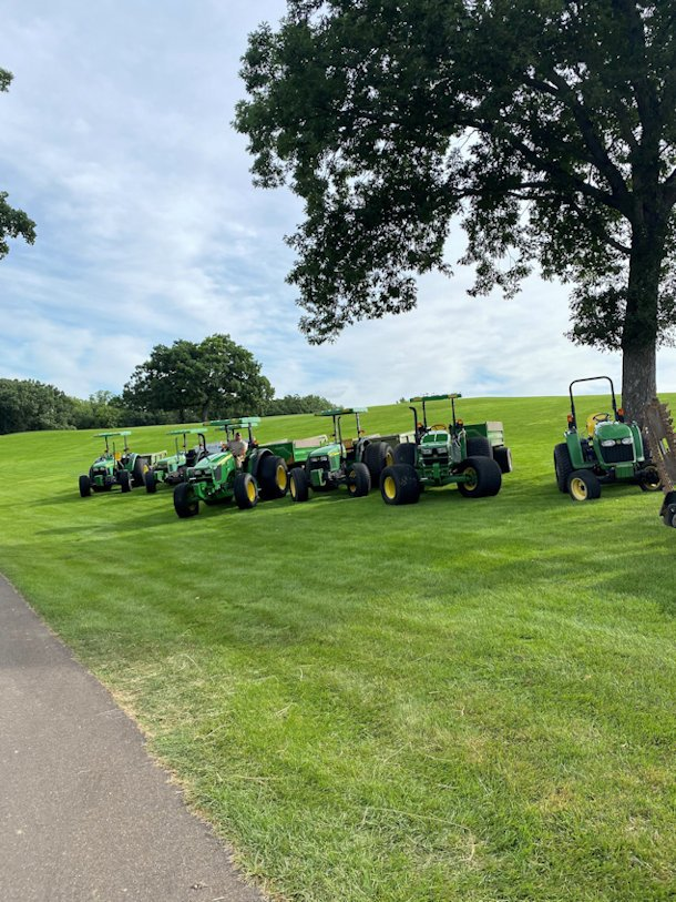 Our fleet of high floatation tractors practically float across the turf